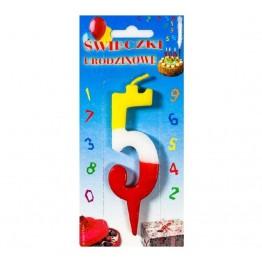 Świeczki urodzinowe cyferki trójkolorowe 5