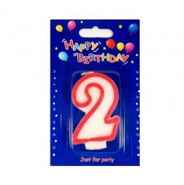 Świeczki urodzinowe cyferki z czerwonym konturem 2