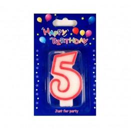 Świeczki urodzinowe cyferki z czerwonym konturem 5