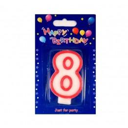 Świeczki urodzinowe cyferki z czerwonym konturem 8
