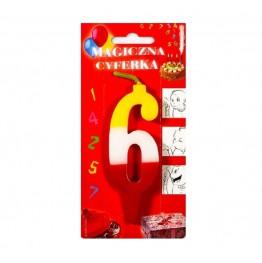 Świeczki urodzinowe cyferki magiczne 6