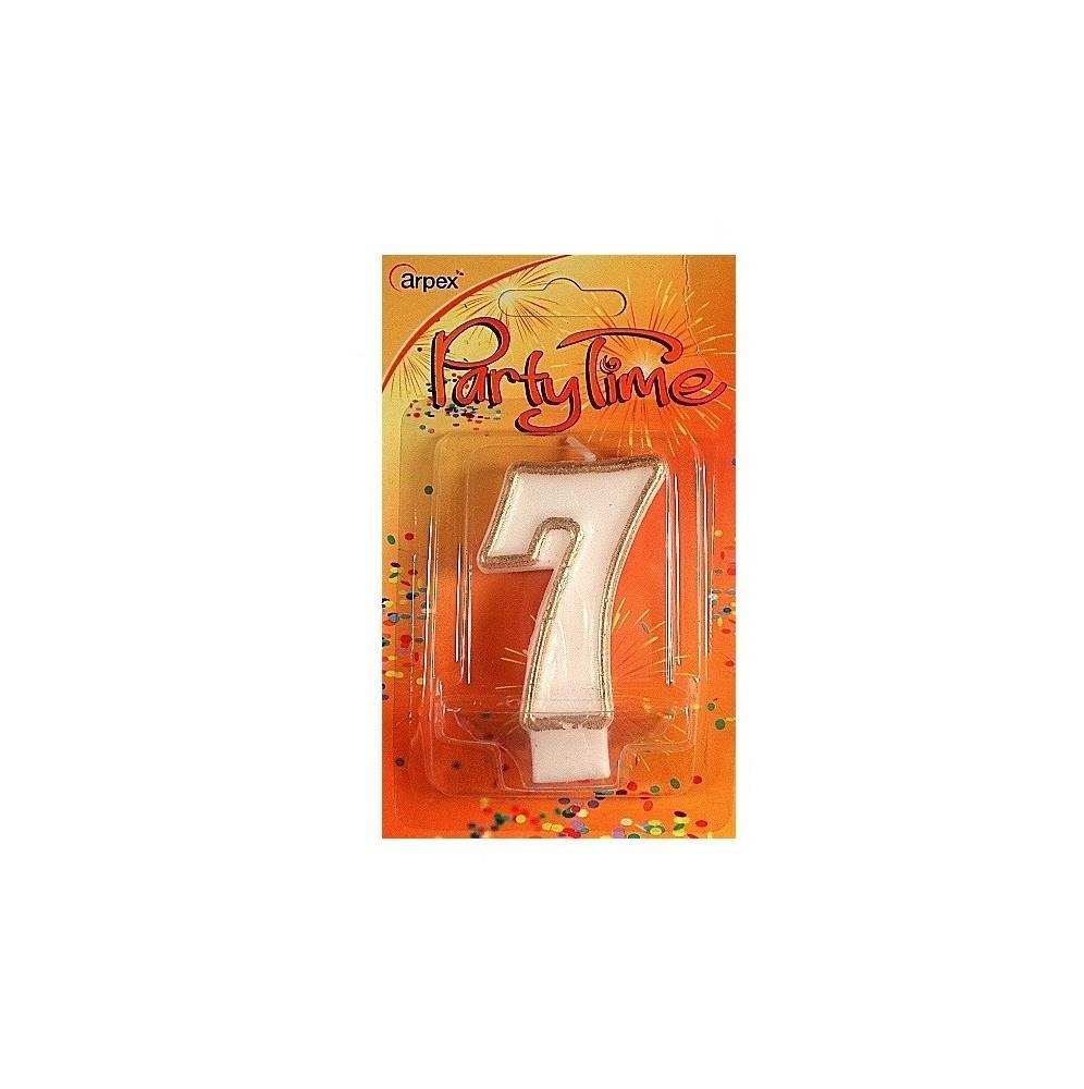 Świeczki urodzinowe cyferki ze złotym konturem 7