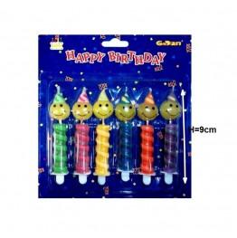 Świeczki urodzinowe uśmiechy w czapeczkach 6 sztuk