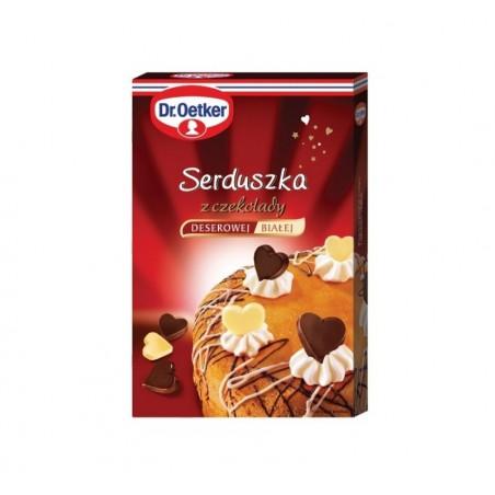 Serduszka z czekolady deserowej i białej Dr Oetker