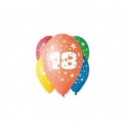 Balony z nadrukiem Osiemnastka (5 sztuk)