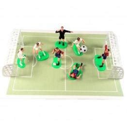 Zestaw piłkarze bramki piłka i boisko