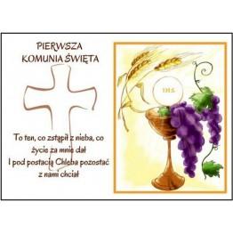 Prostokątny opłatek na tort komunijny Winogrono i Kielich-29cmx20cm