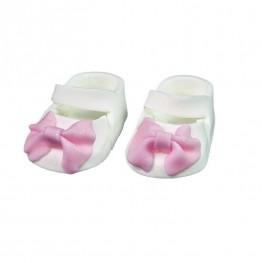 Para bucików na chrzest biało-różowa-Natalia