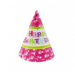 Czapeczki papierowe Happy Birthday różowe-6 sztuk