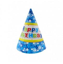 Czapeczki papierowe Happy Birthday niebieskie-6 sztuk
