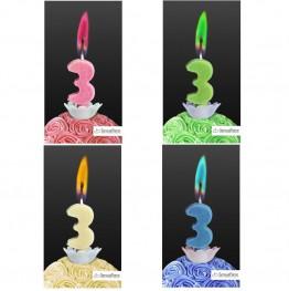 Świeczka cyferka z kolorowym płomieniem-3