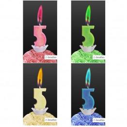 Świeczka cyferka z kolorowym płomieniem-5