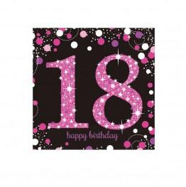 Serwetki papierowe 18 lat-różowe-16 sztuk
