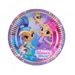 Talerzyki papierowe-Shimmer&Shine-18cm 8 sztuk