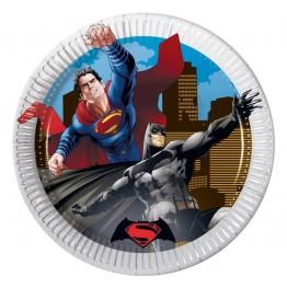 Talerzyki papierowe-Batman i Superman-20cm-8 sztuk