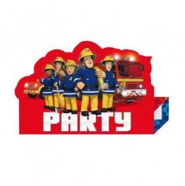 Zaproszenia urodzinowe Strażak Sam-8 sztuk