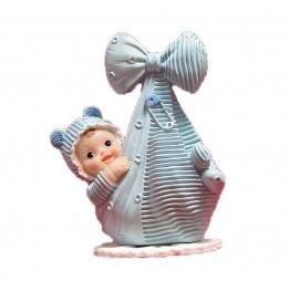 Chłopiec w chuście z kokardą- niebieski