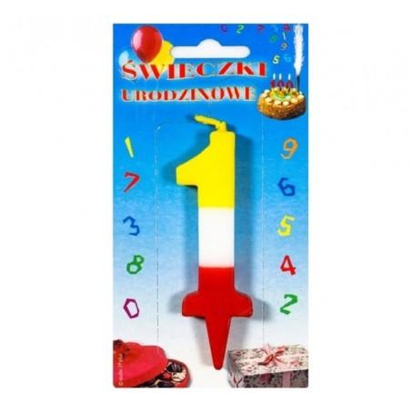 Świeczki urodzinowe cyferki trójkolorowe 1