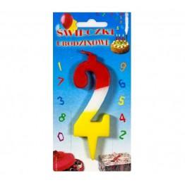 Świeczki urodzinowe cyferki trójkolorowe 2