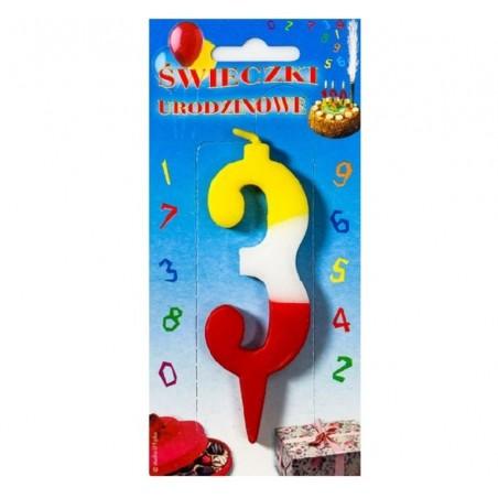 Świeczki urodzinowe cyferki trójkolorowe 3