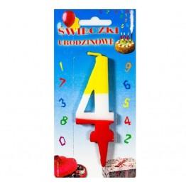 Świeczki urodzinowe cyferki trójkolorowe 4