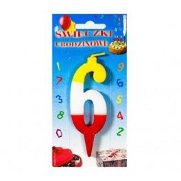 Świeczki urodzinowe cyferki trójkolorowe 6