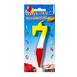 Świeczki urodzinowe cyferki trójkolorowe 7