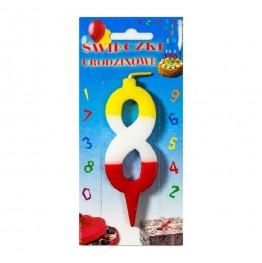 Świeczki urodzinowe cyferki trójkolorowe 8