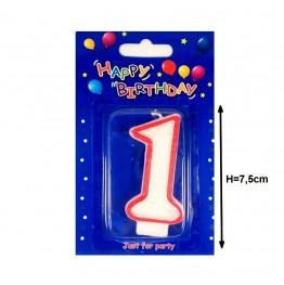 Świeczki urodzinowe cyferki z czerwonym konturem 1