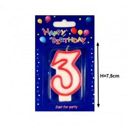 Świeczki urodzinowe cyferki z czerwonym konturem 3