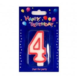 Świeczki urodzinowe cyferki z czerwonym konturem 4