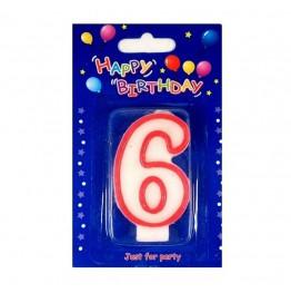 Świeczki urodzinowe cyferki z czerwonym konturem 6