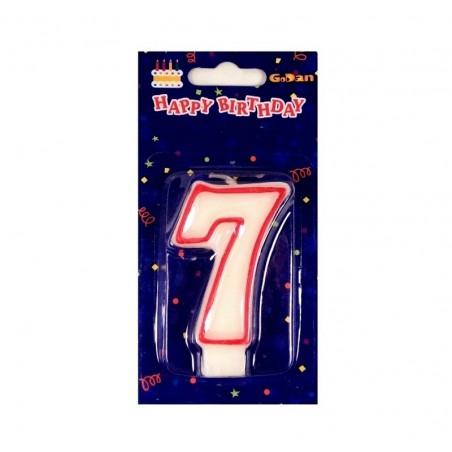Świeczki urodzinowe cyferki z czerwonym konturem 7
