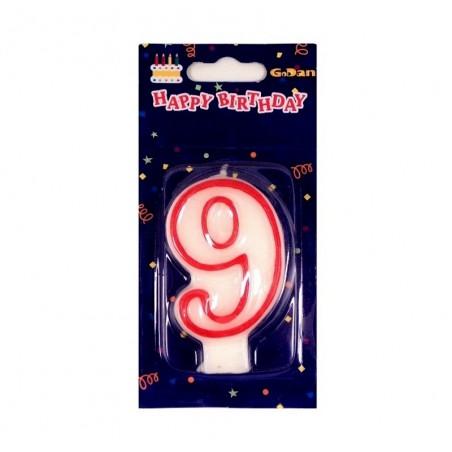 Świeczki urodzinowe cyferki z czerwonym konturem 9