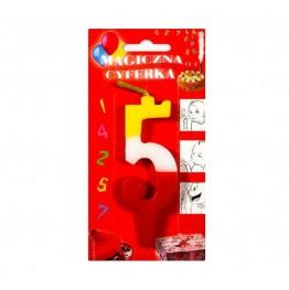 Świeczki urodzinowe cyferki magiczne 5