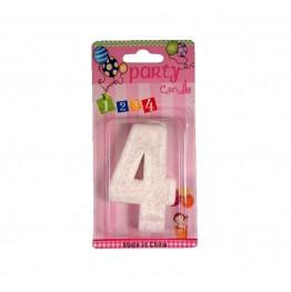 Świeczki urodzinowe białe cyferki z brokatem 4