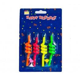 Świeczki urodzinowe spirale 4 sztuki