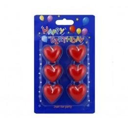 Świeczki urodzinowe serca 6 sztuk