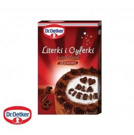 Literki i cyferki z czekolady deserowej Dr Oetker