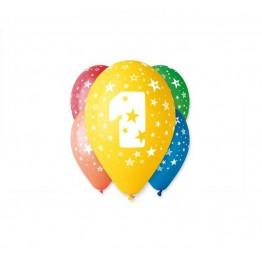 Balony z nadrukiem Jedynka (5 sztuk)