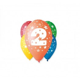 Balony z nadrukiem Dwójka (5 sztuk)
