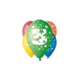 Balony z nadrukiem Trójka (5 sztuk)