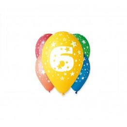 Balony z nadrukiem Szóstka (5 sztuk)