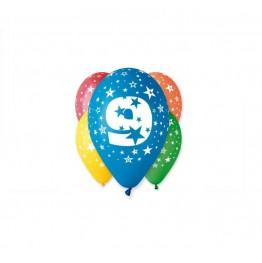 Balony z nadrukiem Dziewiątka (5 sztuk)