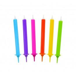 Świeczki urodzinowe Tęcza 12 sztuk