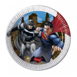Talerzyki papierowe-Batman i Superman-23cm 8 sztuk