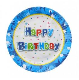 Talerzyki niebieskie Happy Birthday-6 sztuk-18cm