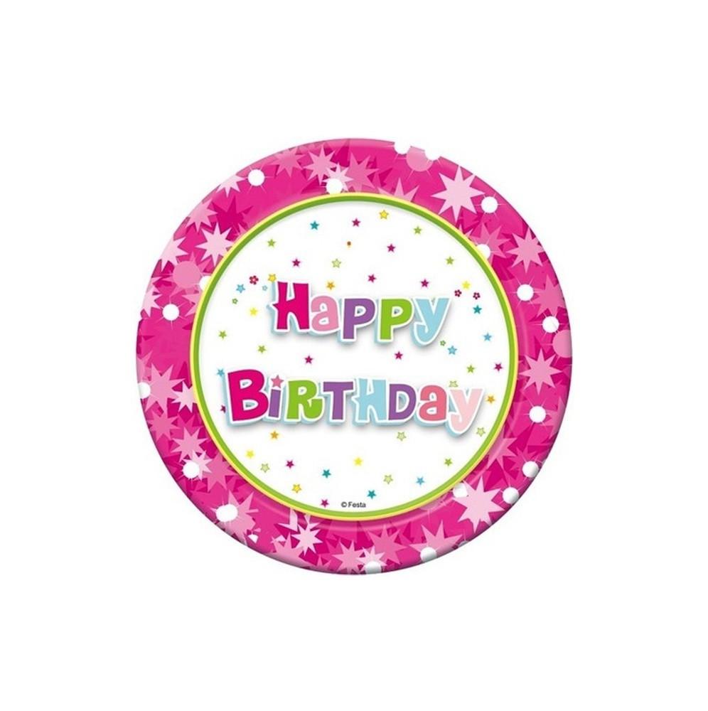 Talerzyki różowe Happy Birthday-6 sztuk-18cm