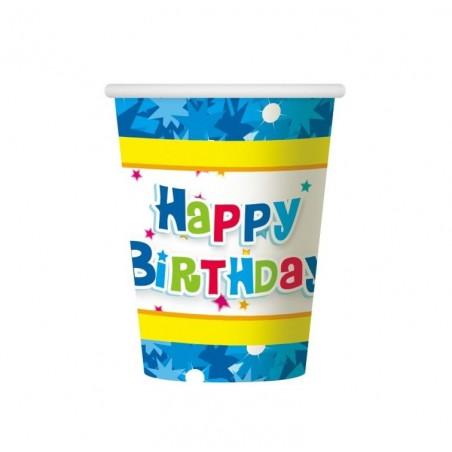 Kubeczki papierowe Happy Birthday-niebieskie-6 sztuk