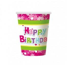 Kubeczki papierowe Happy Birthday-różowe-6 sztuk